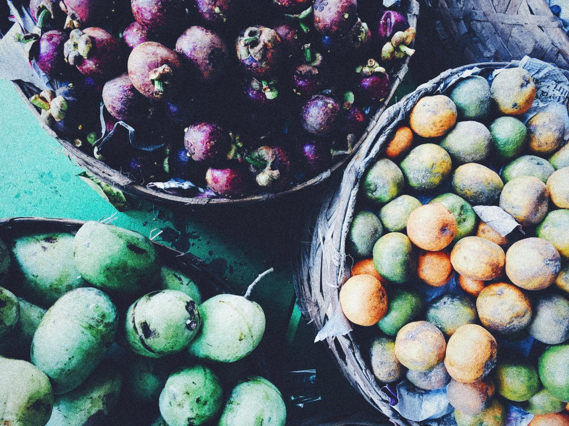 Fruits, marché, Bali, Indonésie, mangoustan, citrons, mangues